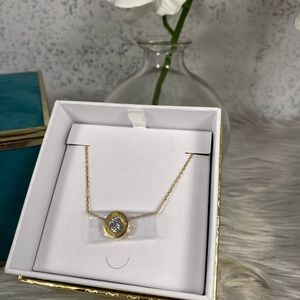 🆕 Michael Kors Gold Necklace with Diamond Circle